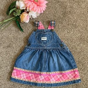 Toddler girls jean overall dress